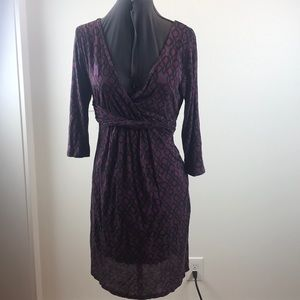 Purple patterned Boden wrap Dress